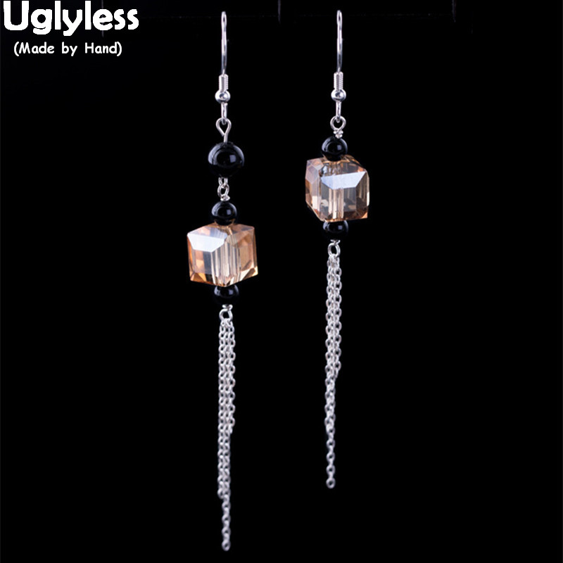 Uglyless Tassel-Earrings Crystal 925-Sterling-Silver Fashion Women Summer 100%Real Chains