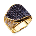 High quality designer rings Gold/Black color Copper metal with CZ Crystal stones Large ring Jewelry