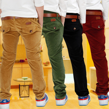 boys casual pants with Sashes 2017 designer brand kids corduroy pant soild all-match british style fashion trousers for children