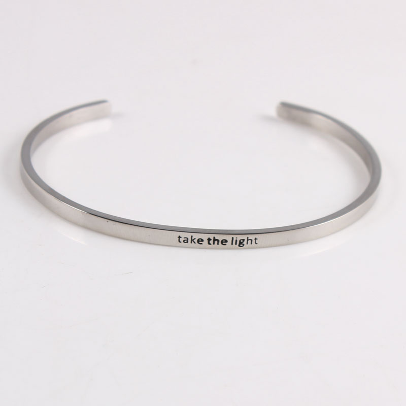 More Than 50 Styles Stainless Steel Engraved Positive Inspirational Quote Cuff Mantra Bracelet Bangle For Women Gifts in Bangles from Jewelry Accessories