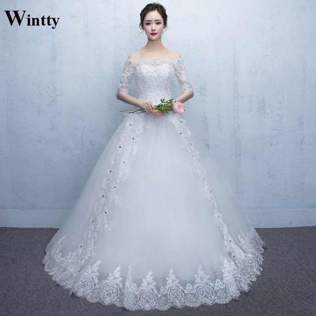 Wintty white ivory wedding dress china lace tulle sleeves plus size ...