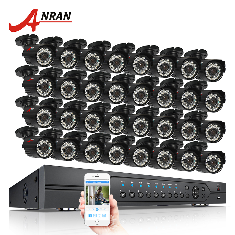 ANRAN 32CH Security System AHD 1080N HDMI DVR Kit 32pcs 720P 1800TVL IR Night Vison Bullet Outdoor AHD Video Surveillance Camera ahd 24ch 1080n hdmi dvr set security camera system 24pcs ahd 720p 1800tvl 3 ir outdoor night vision home surveillance camera