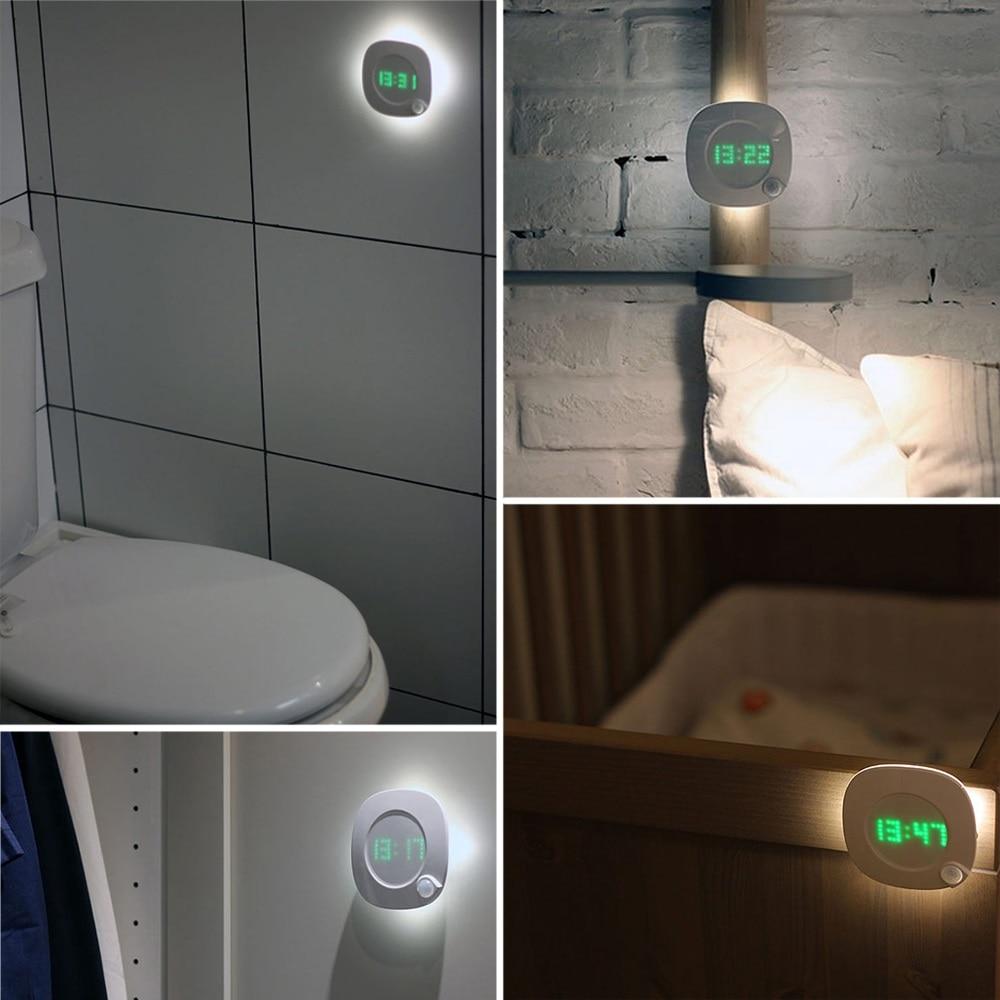 Image 5 - LED Night Light Human Body Infrared Sensor Light Night Lamp Battery Powered Time Clock Adjustable Lighting for Toilet Wardrobe-in LED Night Lights from Lights & Lighting