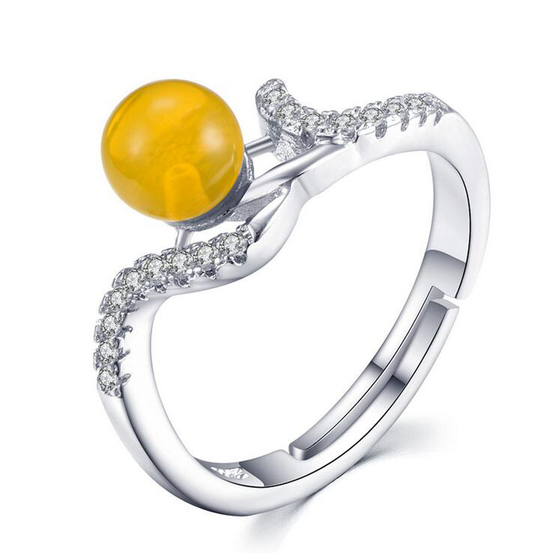 Fashion Women Silver Color Shiny Zircon Yellow Amber Bead Round Open Wedding Ring Lady Engagement Party Ring Gift Jewelry Rz826 Mild And Mellow Wedding & Engagement Jewelry Engagement Rings