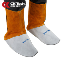 CK Tech. Welding Leather Shoes Cover Flame Resistant Anti Heat Wear Resistant Workplace Welder's Foots Cowhide Protective Cover