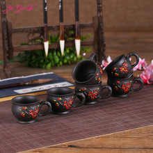 JIA-GUI LUO 1 Set 6 Pieces Purple Clay Cup Kung Fu Tea Accessories Puer Plum Relief Style  60ML I022