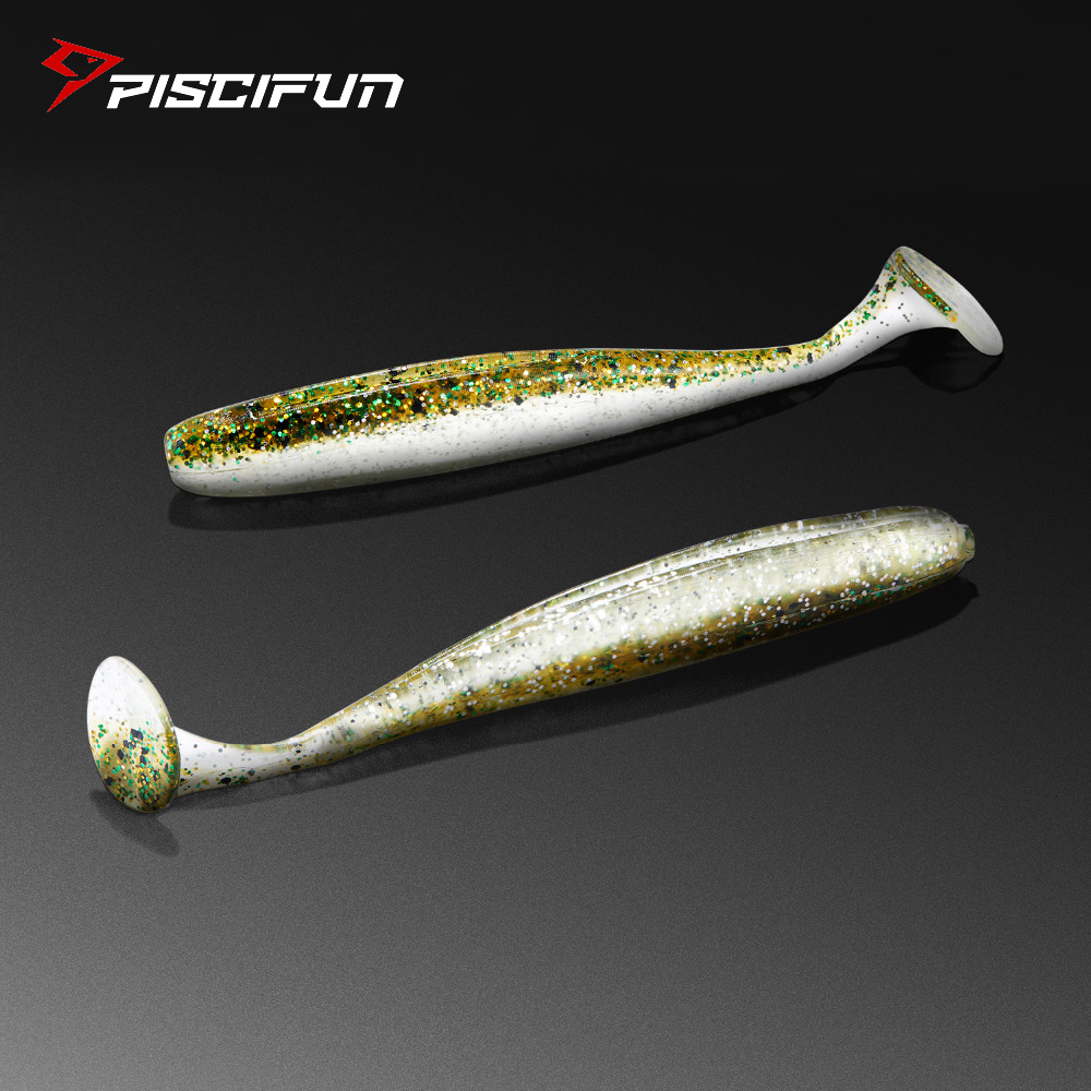 Piscifun Fishing Lure 6pcs/lot Soft Lure 90mm/4.5g Handmade Soft Fish Shad Manual Silicone Bass T-Tail Swimbait Fishing Tackle
