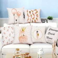 Flamingo Cushion Goose Feather Balloons Geometric Nordic Home Decor Sofa Throw Pillow  For Girls Room Decoration