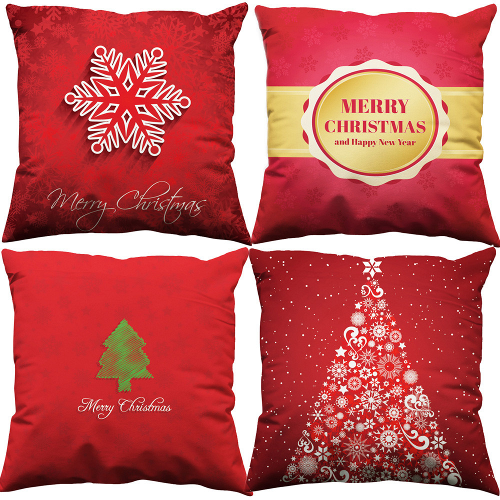 Tenske Happy New Year Cushion Cover Decorative Pillowcase For Home Bed Sofa Seat Case Car Pillow Case Christmas Decoration No02 Table & Sofa Linens