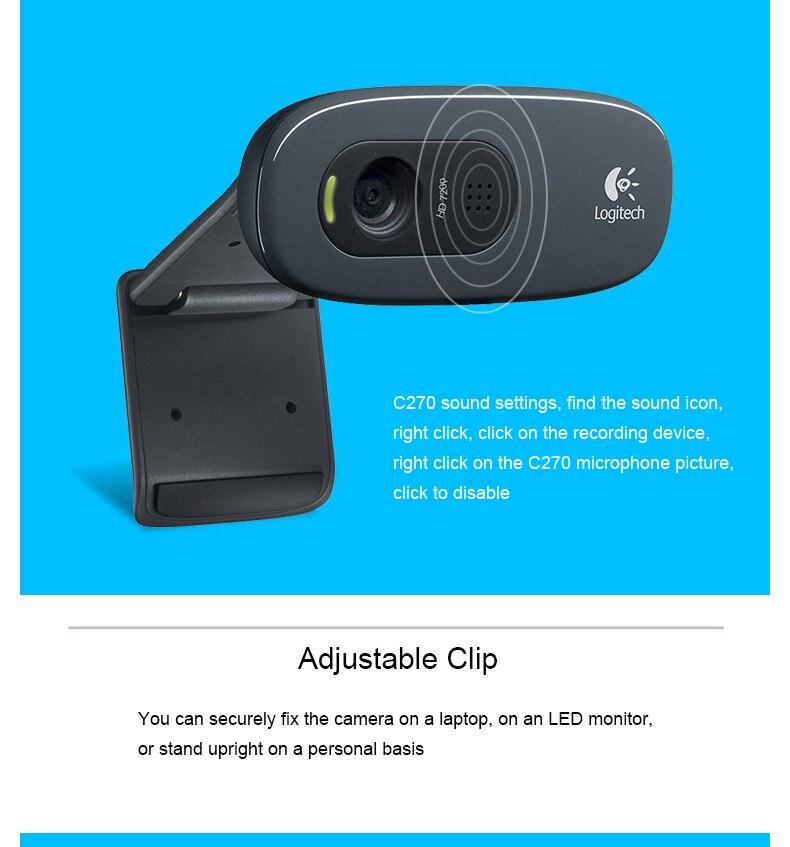 Original Logitech C270 Webcam 720p PC Smart tv Usb Camera 3 Mega HD Video  Web Cam With MIC Micphone