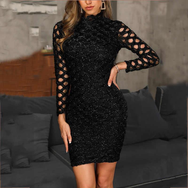 Женское блестящее открытое облегающее платье-футляр уличная черная выше колена мини с круглым вырезом осеннее вечернее платье с длинными рукавами