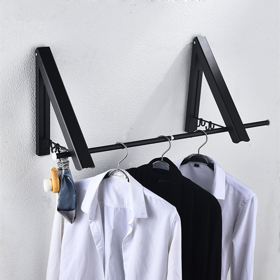 Home Improvement Bathroom Hardware Bathroom Wall Mounted Black Clothes Hanger Indoor Outdoor Cloth Drying Rack Retractable Aluminium Hanger Laundry Balcony