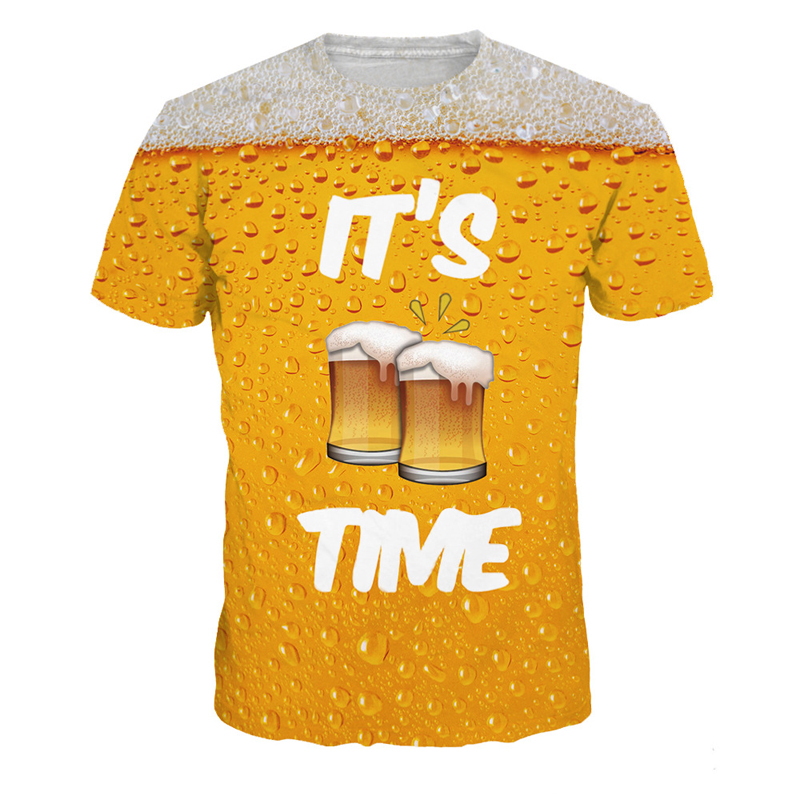 Men Beer Bubble Pattern T Shirt Short Sleeve 2018 Causal Punk Style Full Cup Beer 3D Print Tops Tee Strange Things Clothing Male