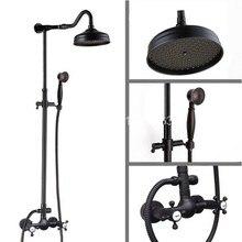 Luxury Bathroom Rain Shower Faucet Set Black Oil Rubbed Bronze Handheld Shower Head Two Cross Handles Mixer Tap ars794
