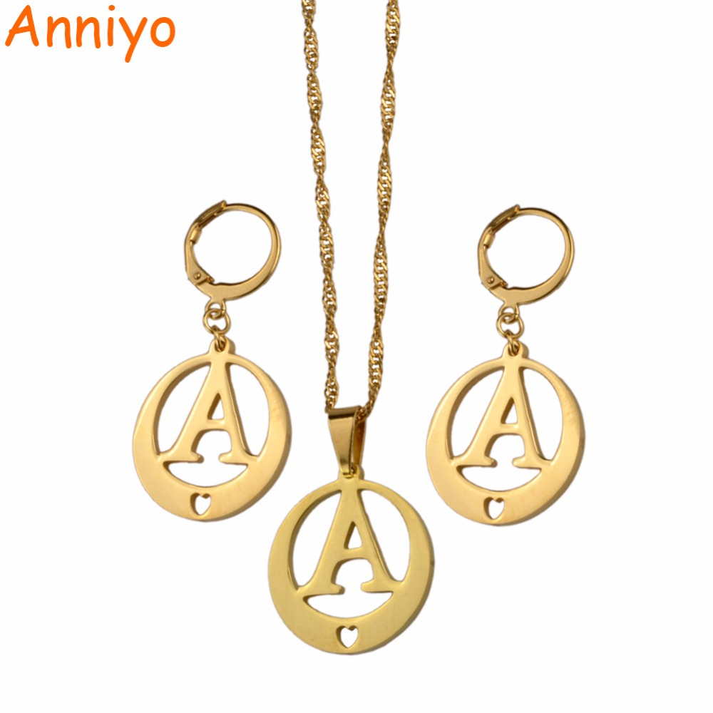 letter a initial necklace anniyo a z letters necklace earrings gold color initial 17416 | Anniyo A Z Letters Necklace Earrings Gold Color Initial for Women Girls Alphabet Pendant English Letter