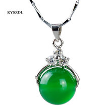 Free Shipping Natural Green agate beads Pendant Necklace Fashion 925 silver lady  pendant