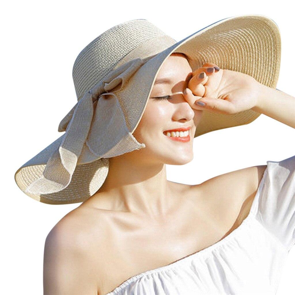 ISHOWTIENDA Summer Hat Women Big Brim Straw Hat Sun Floppy