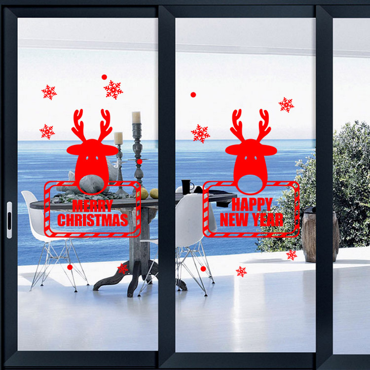 Merry Christmas Deer Window Wall Sticker Christmas Window Glass Xmas Party Gift Wallpaper Home Decor