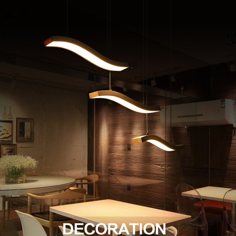 Modern Simple LED Restaurant Chandelier Post-modern Creative Bar Coffee Shop Living Room Dinning Room Acrylic Lamp Free Shipping