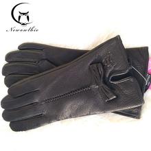 2020 nowe damskie rękawiczki skórzane zimowe ciepłe fluff damskie miękkie kobiece rękawiczki Buckskin wysokiej jakości rękawiczki tanie tanio newowlbie Dla dorosłych WOMEN Genuine Leather Stałe Nadgarstek Moda