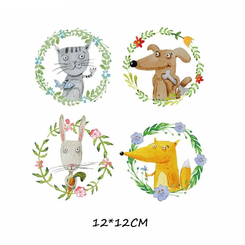 Набор патчей с изображением животных из мультфильмов, милые патчи с изображением единорога, кошки, совы, собаки, цветов для детей, одежда для девочек, футболка, сделай сам, термопресс - Цвет: 681
