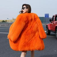 Fluffy real natural fox fur women's winter coat , customized color whole skin gorgeous fox fur skin gorgeous fox fur outerwear