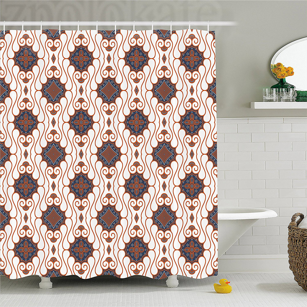 Retro Bohemian Pattern Shower Curtain Fabric Decor Set With Hooks 4 Sizes Shower Curtains Bathroom Supplies Accessories