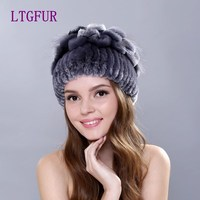 LTGFUR 2016 Winter Beanies Fur Hat For Women Knitted 100 Rex Rabbit Fur Hat Hand Sewing