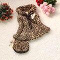 2016 NUEVO cuello de piel de leopardo de las muchachas chica de invierno ropa de abrigo con capucha con bolsas de leopardo de algodón acolchado de invierno ropa de las muchachas