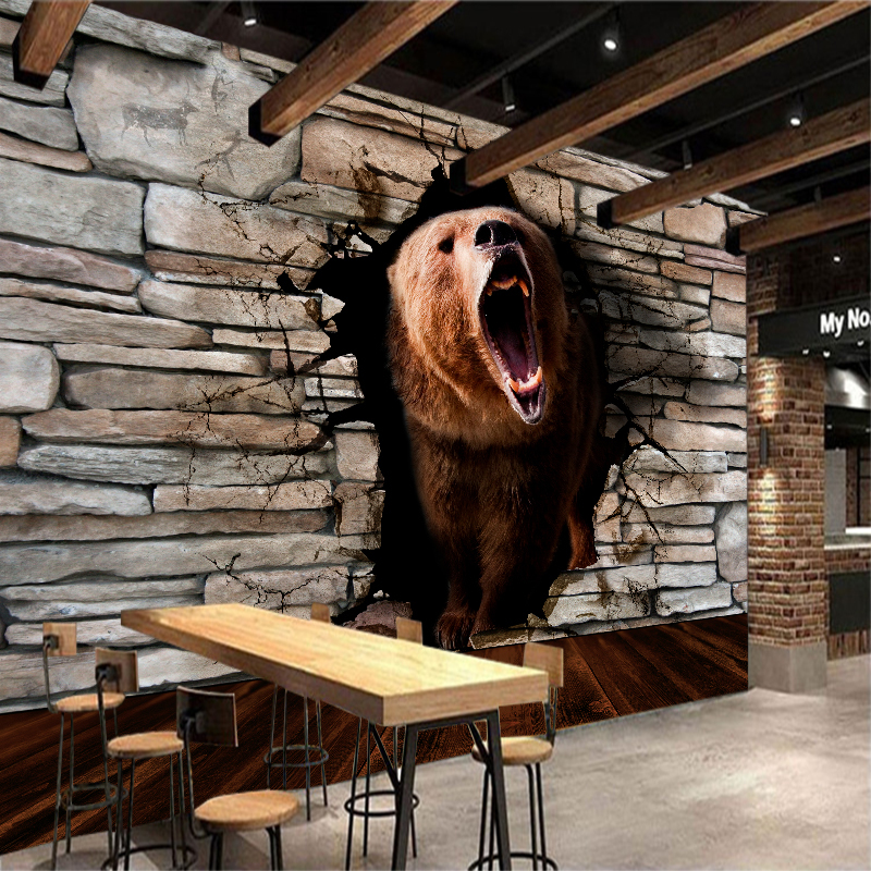 Custom any size 3D wall mural wallpapers Modern fashion Bear pass through the wall 3D Perspective Wall Sticker YBZ097