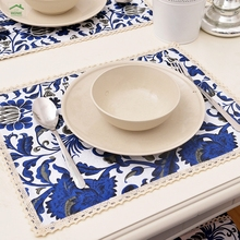 Behome High quality Original ethnic Chinese style South Beauty blue flower coasters placemats cotton cloth lace placemat Western