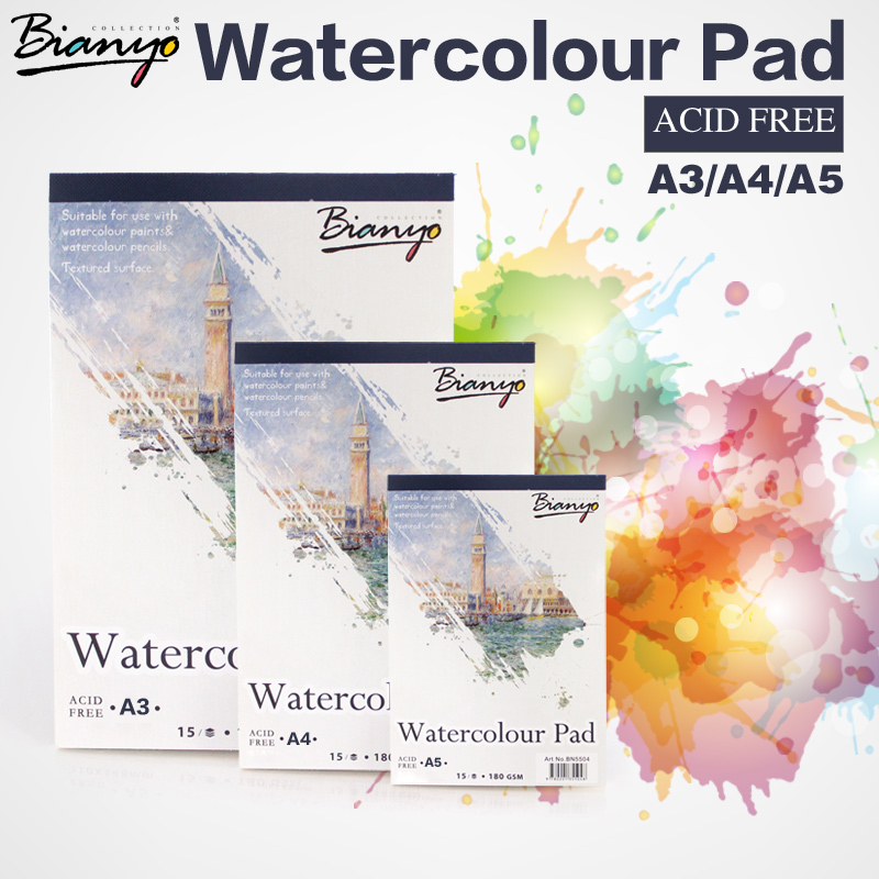 Bianyo A4/A5 Sketchbook for Artist Watercolor Paint,15Sheet Watercolor Paper Notepad Book for Chilren Art Drawing Art Supplies