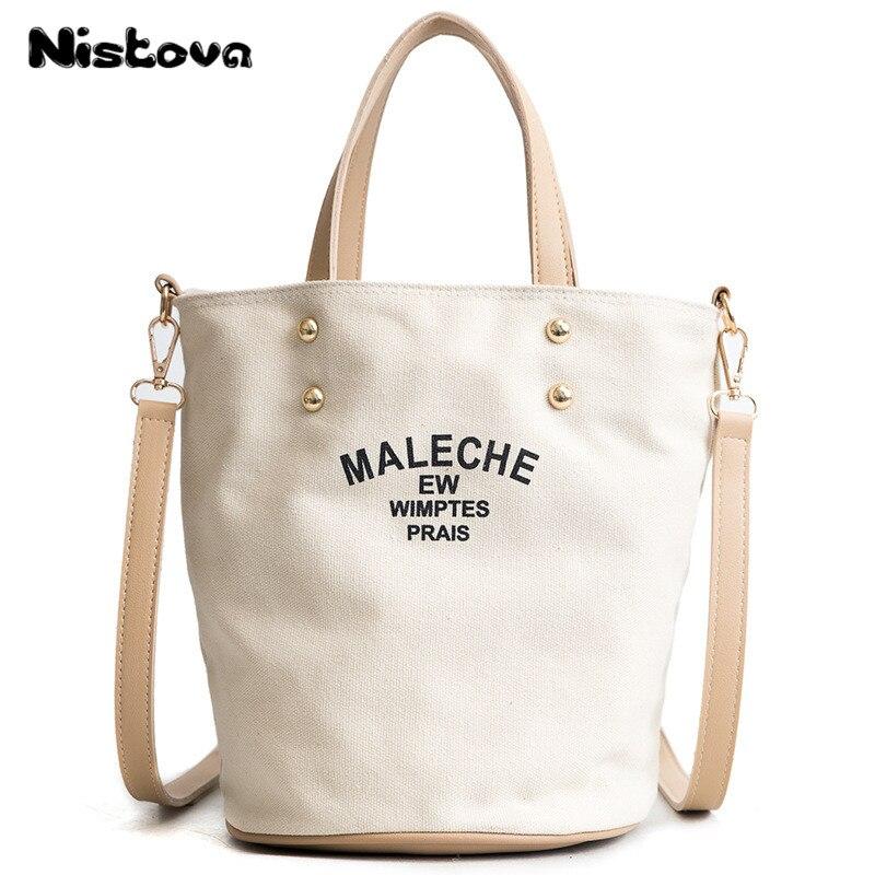Women's Canvas Bucket Bag Handbag Leisure Single Shoulder Bag Student Canvas Bag Oblique Messenger Bag