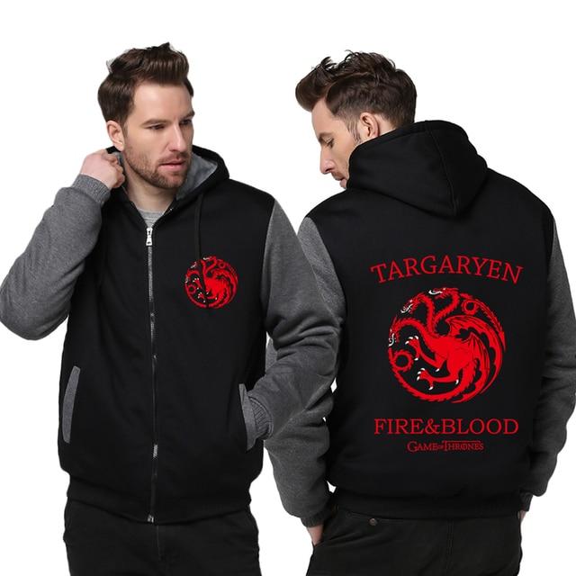 Hot Game of Thrones House Targaryen Thicken Hoodie Zipper Coat Jacket  Sweatshirts MEN WOMEN Top Clothing