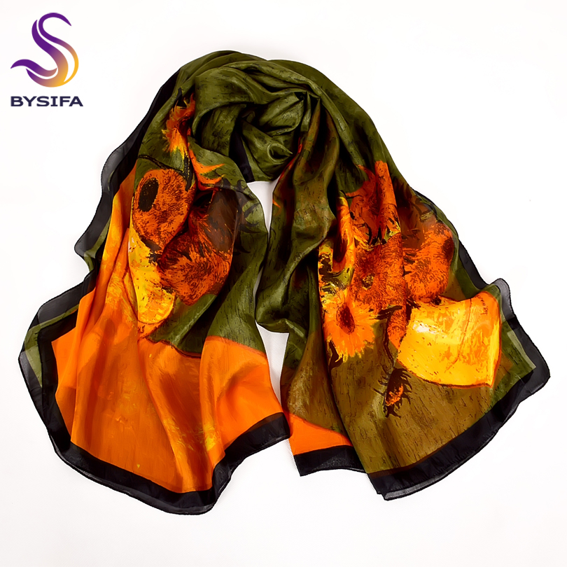 Cachecol Brand Army Grøn Silk Scarf Trykt Ny Super Large Pure Silk Long Scarves Sjal Winter Ladies Scarves Wraps 180 * 110cm