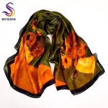 Pañuelo de seda impreso verde militar marca Cachecol, pañuelos largos de seda pura súper grandes, chal de invierno para mujer, bufandas, chales de 180x110cm