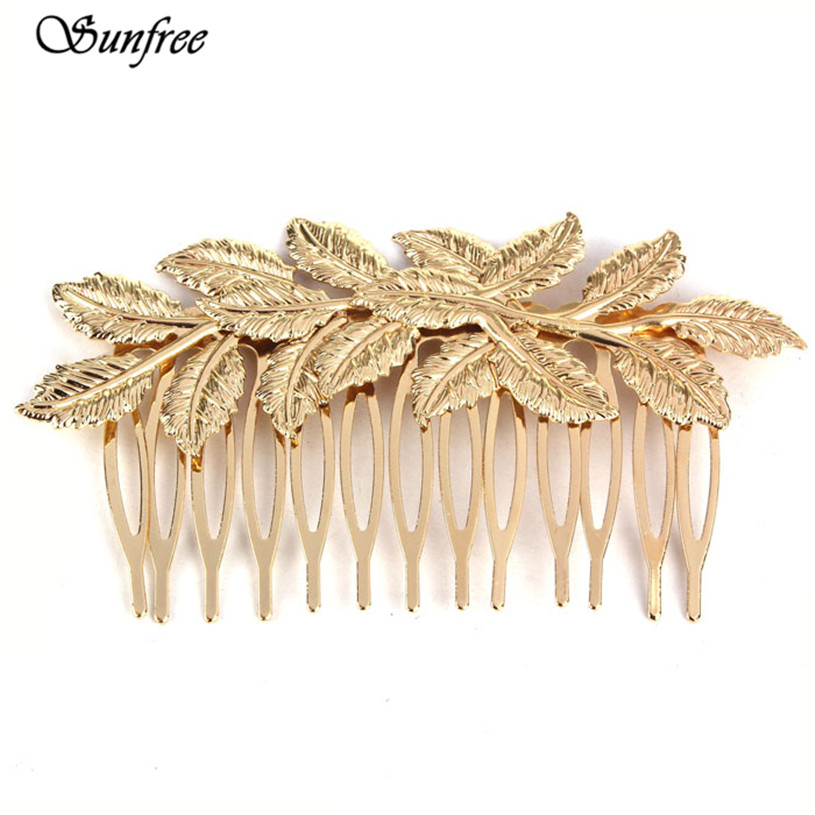 Sunfree 2016 Hot Sale New Hot Fashion Punk Women Girls Golden Leaf Hair Comb Hair Clip Jewelry Brand New and High Quality Nov 11