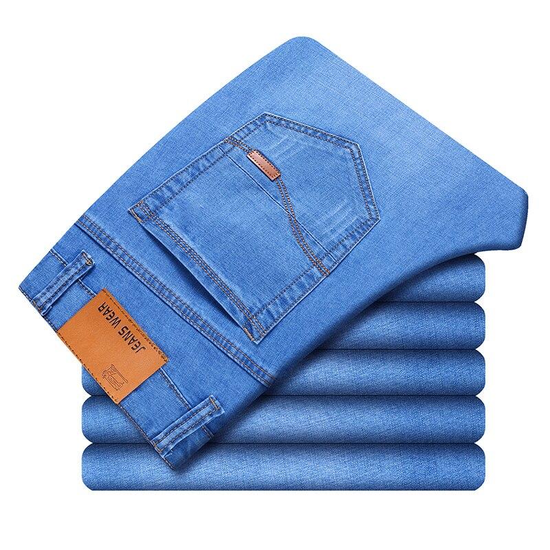 2019 Brand Mens Winter Blue Fleece Jeans Lined Stretch Denim Warm Jeans For Men Designer Slim Fit bikrer youth Jeans 28 38 size in Jeans from Men 39 s Clothing