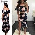 Para mujer del verano de dos piezas crop top Verano de Las Mujeres Estampado de flores Sexy 2 Unidades Vendaje Partido de La Celebridad Vestidos Maxis