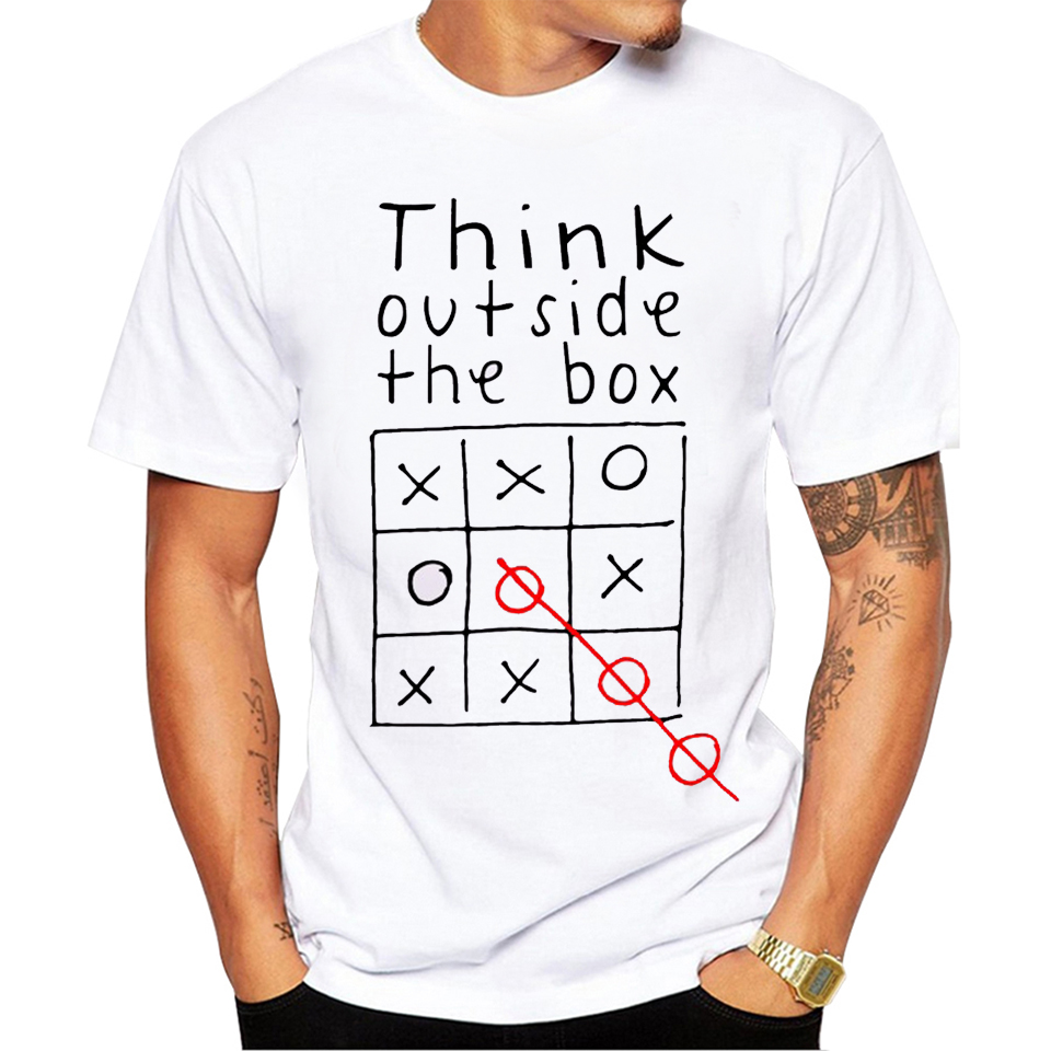 Think Out Side Cool The Box Men Male Letter Quote Modal Short Sleeve O Neck   T     shirt   Funny Customized Top tees mx130