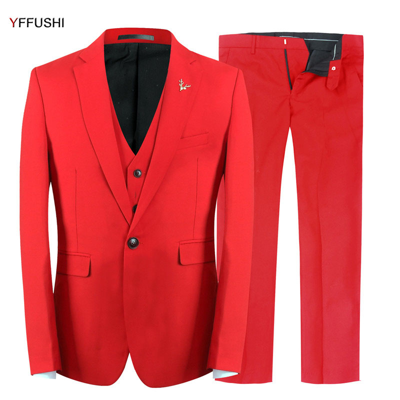 YFFUSHI 2018 New Men Suit 3 Pieces Grooms Wedding Suit Slim Fit Terno Masculino Fashion Design Best Man Blazer Red Suit 6XL