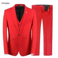 Yffushi 2018新しい男性スーツ3ピース新郎ウェディングスーツスリムフィットterno masculinoファッションデザイン