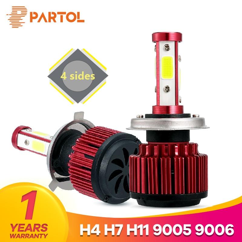 Partol 2 teile/satz 100 W H4 Blei Scheinwerfer Lampen 4 Seiten LED H7 Auto Licht 4 COB Chips Auto H11 LED Lampen 100 00LM 9005/9006/9012/5202