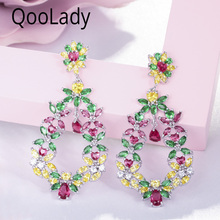 QooLady Hight Quality Green Yellow Red Cubic Zirconia Stone Elegant Flower Long Big Drop Earring for Women Wedding Party E003 high quality baguette shape red cubic zirconia women long drop wedding prom earring jewelry for women