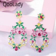 QooLady Hight Quality Green Yellow Red Cubic Zirconia Stone Elegant Flower Long Big Drop Earring for Women Wedding Party E003