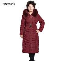 2017 nueva chaqueta de invierno mujeres real Cuello de piel con capucha Abrigos largos mujeres largo Parkas engrosamiento 6xl más tamaño Abrigos de plumas chaqueta CAPA