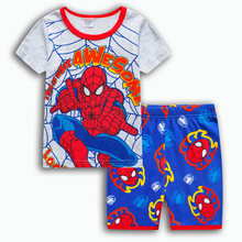 Avengers Sleepwear Boys iron Man Kids Cartoon Captain America spider-man Pajamas Sets Baby Girls cosplay costume(China)