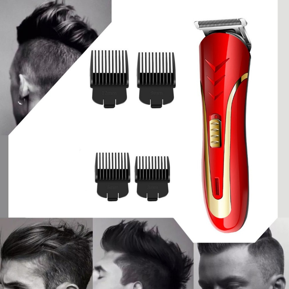 KEMEI KM 1409 Carbon Steel Head Hair Trimmer EU Plug Rechargeable Electric Razor Men Beard Shaver Electric Hair Clipper in Hair Trimmers from Home Appliances