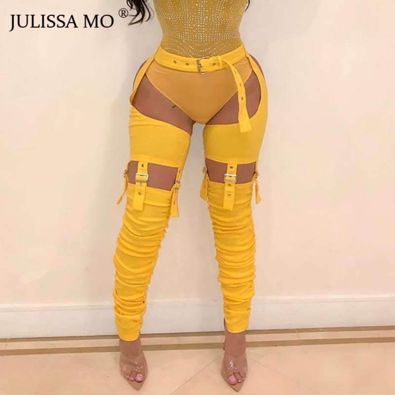 JULISSA MO Sexy Hollow Out High Waist Pants Women Yellow Bandage Bodycon Pleated Pencil Pants 2019 New Casual Hip Hop Pants