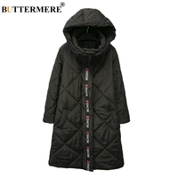 BUTTERMERE Brand Plus Size Black Parka Women Fashionable Cotton Padded Coat Hooded Thick Winter Coats And